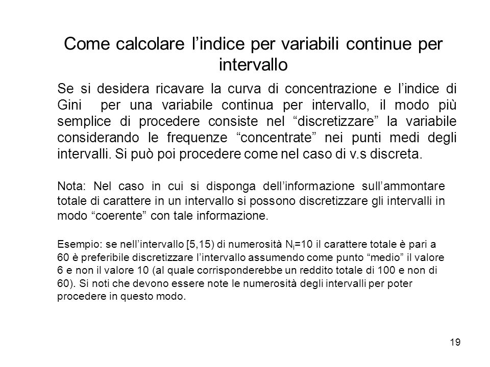 Come calcolare l'indice per variabili continue per intervallo