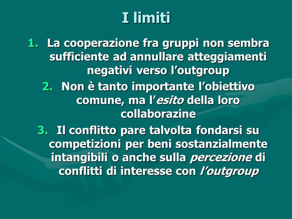 I limiti La cooperazione fra gruppi non sembra sufficiente ad annullare atteggiamenti negativi verso l'outgroup.