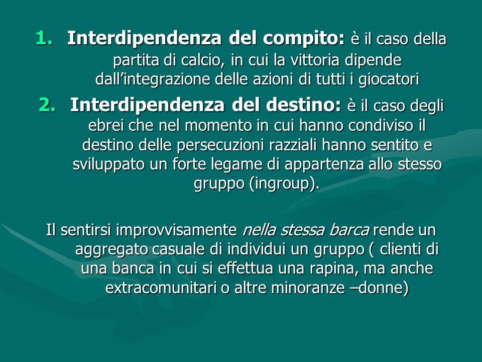 Interdipendenza del compito: è il caso della partita di calcio, in cui la vittoria dipende dall'integrazione delle azioni di tutti i giocatori