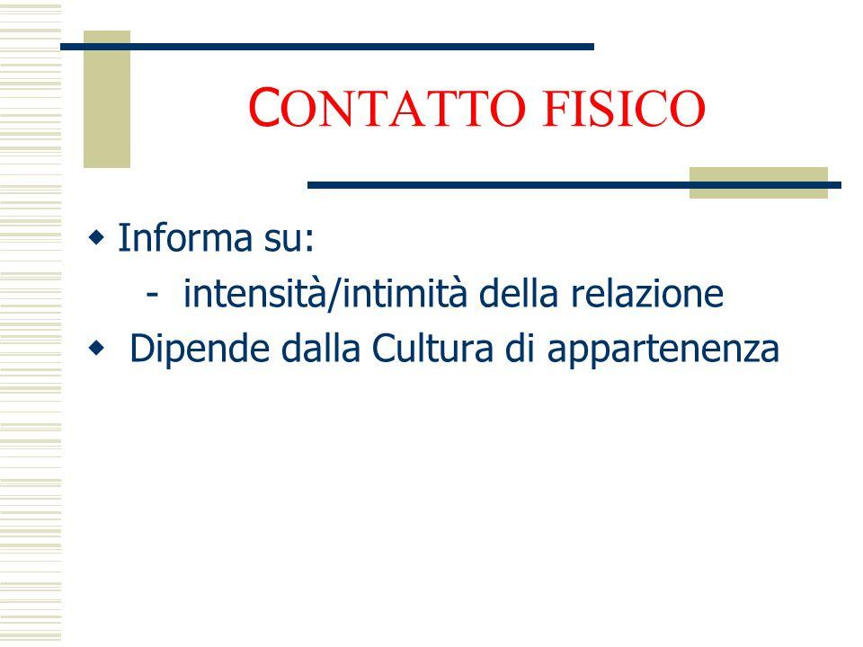 CONTATTO FISICO Informa su: - intensità/intimità della relazione