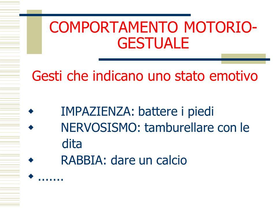 COMPORTAMENTO MOTORIO-GESTUALE