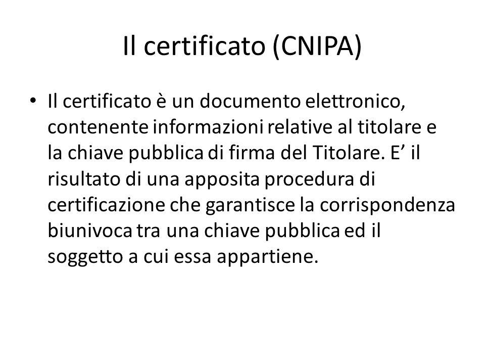 Il certificato (CNIPA)