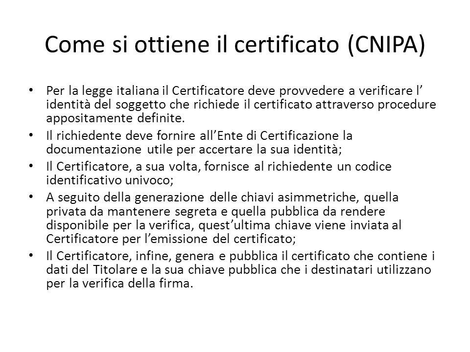 Come si ottiene il certificato (CNIPA)