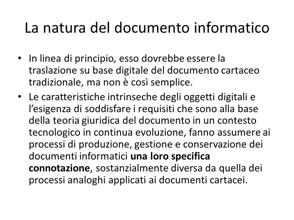 La natura del documento informatico