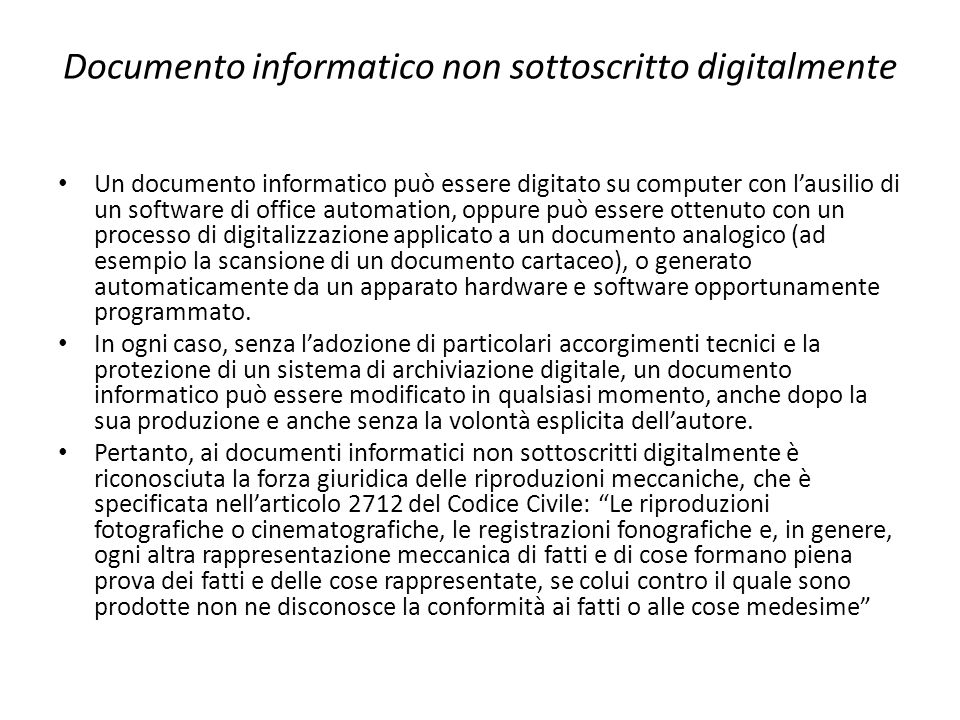 Documento informatico non sottoscritto digitalmente