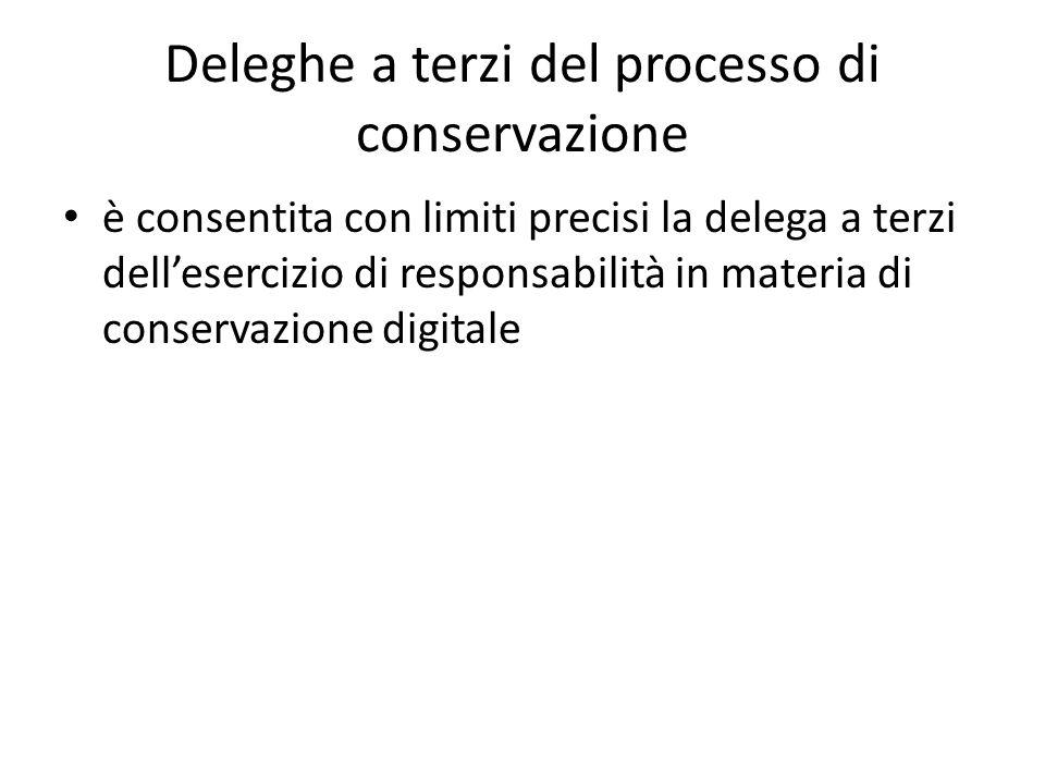 Deleghe a terzi del processo di conservazione