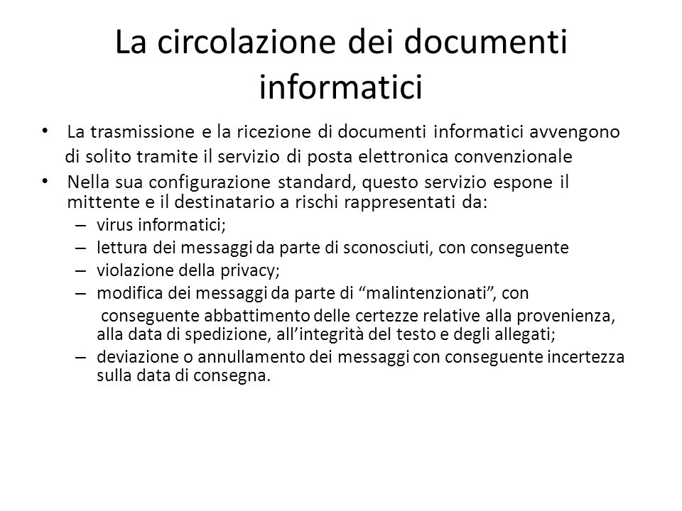 La circolazione dei documenti informatici