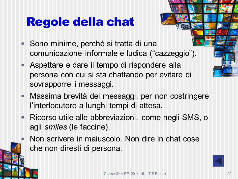 Regole della chat Sono minime, perché si tratta di una comunicazione informale e ludica ( cazzeggio ).