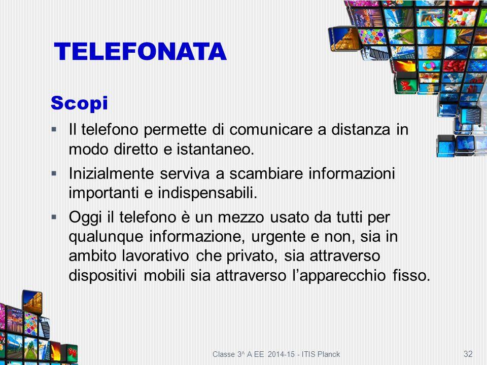 TELEFONATA Scopi. Il telefono permette di comunicare a distanza in modo diretto e istantaneo.