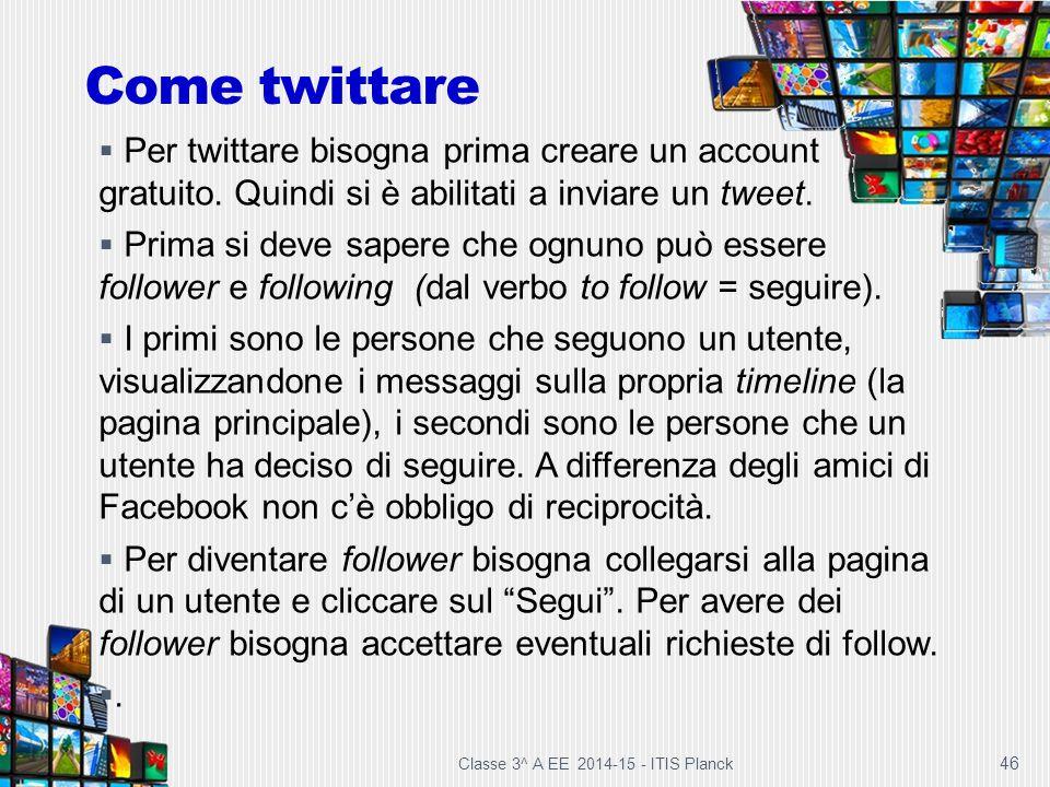Come twittare Per twittare bisogna prima creare un account gratuito. Quindi si è abilitati a inviare un tweet.