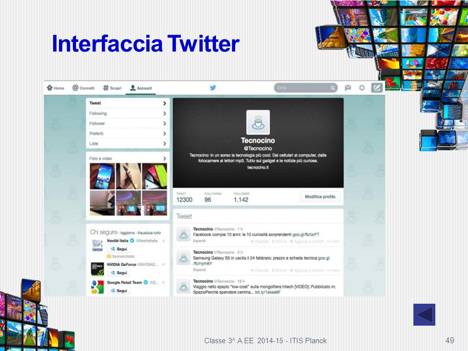 Interfaccia Twitter Classe 3^ A EE 2014-15 - ITIS Planck
