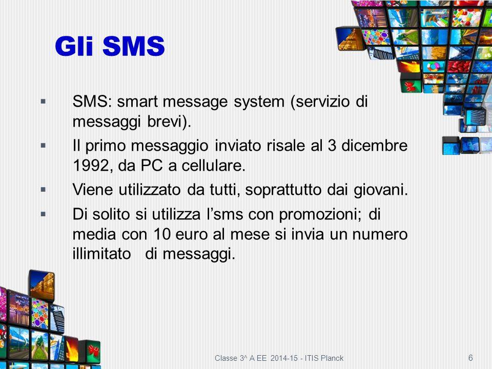 Gli SMS SMS: smart message system (servizio di messaggi brevi).