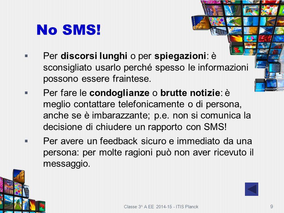 No SMS! Per discorsi lunghi o per spiegazioni: è sconsigliato usarlo perché spesso le informazioni possono essere fraintese.