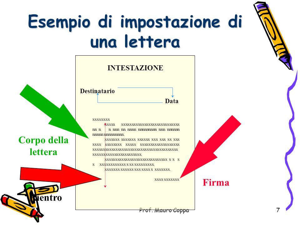 Esempio di impostazione di una lettera