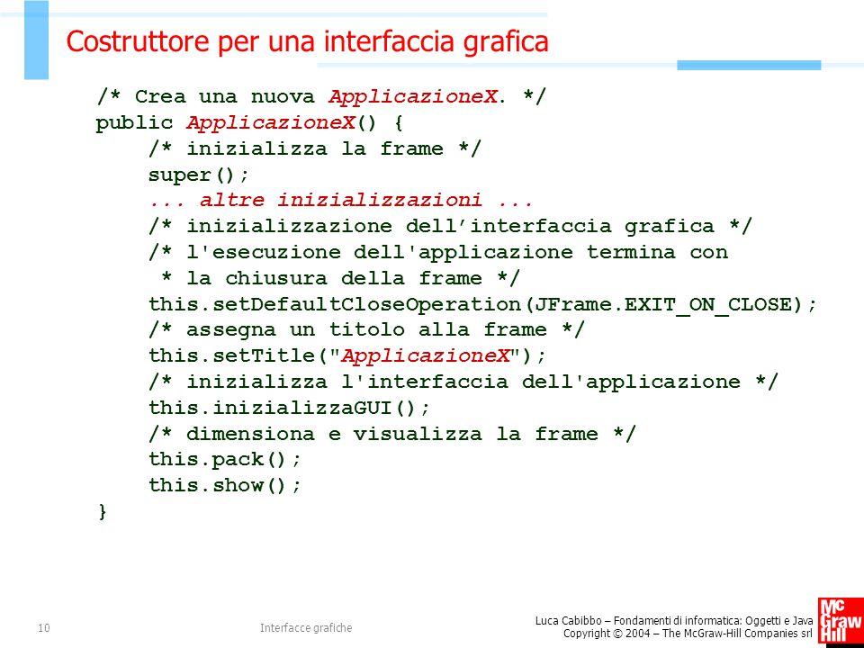 Costruttore per una interfaccia grafica