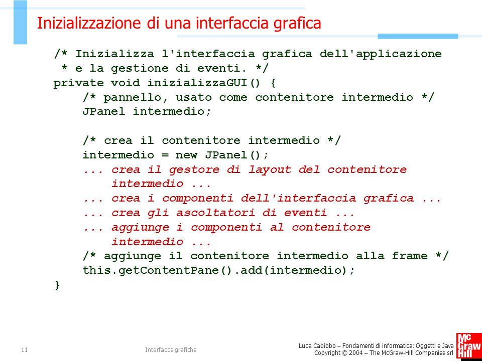 Inizializzazione di una interfaccia grafica