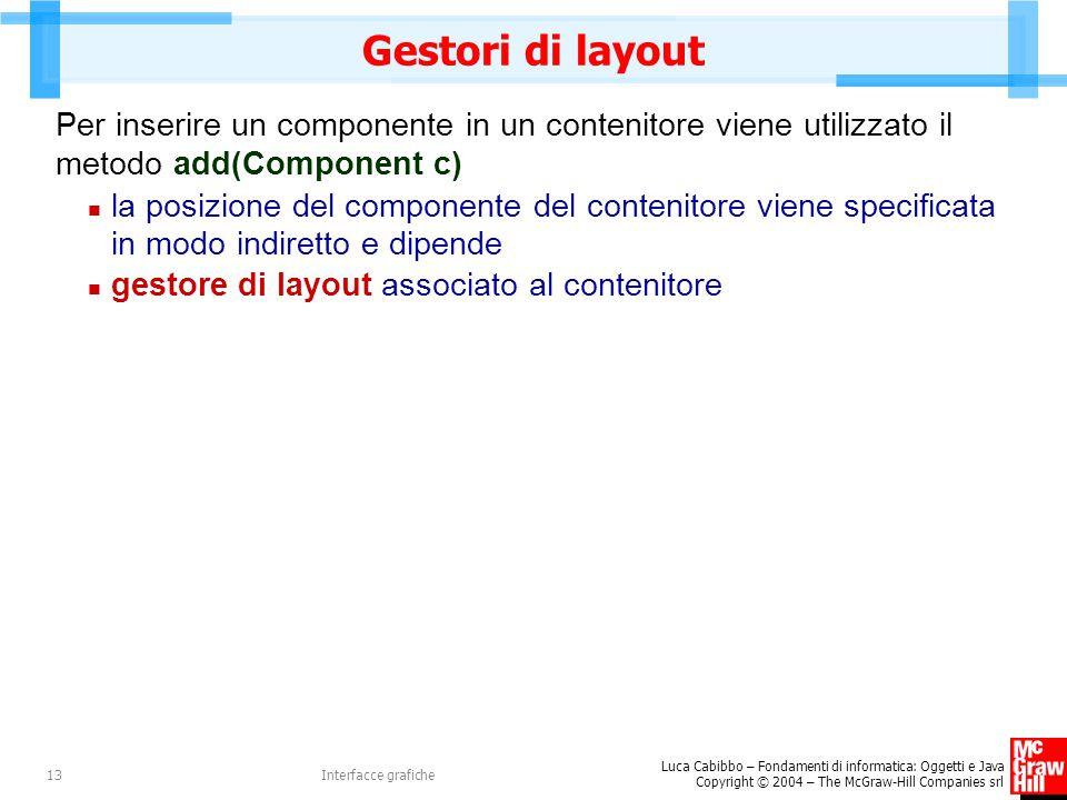 Gestori di layout Per inserire un componente in un contenitore viene utilizzato il metodo add(Component c)