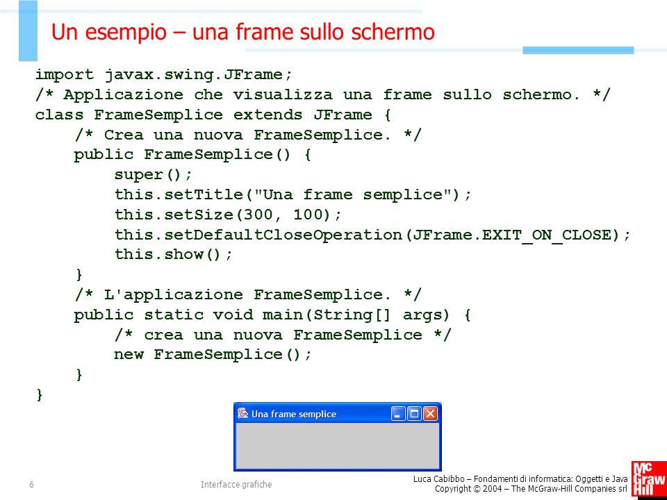 Un esempio – una frame sullo schermo
