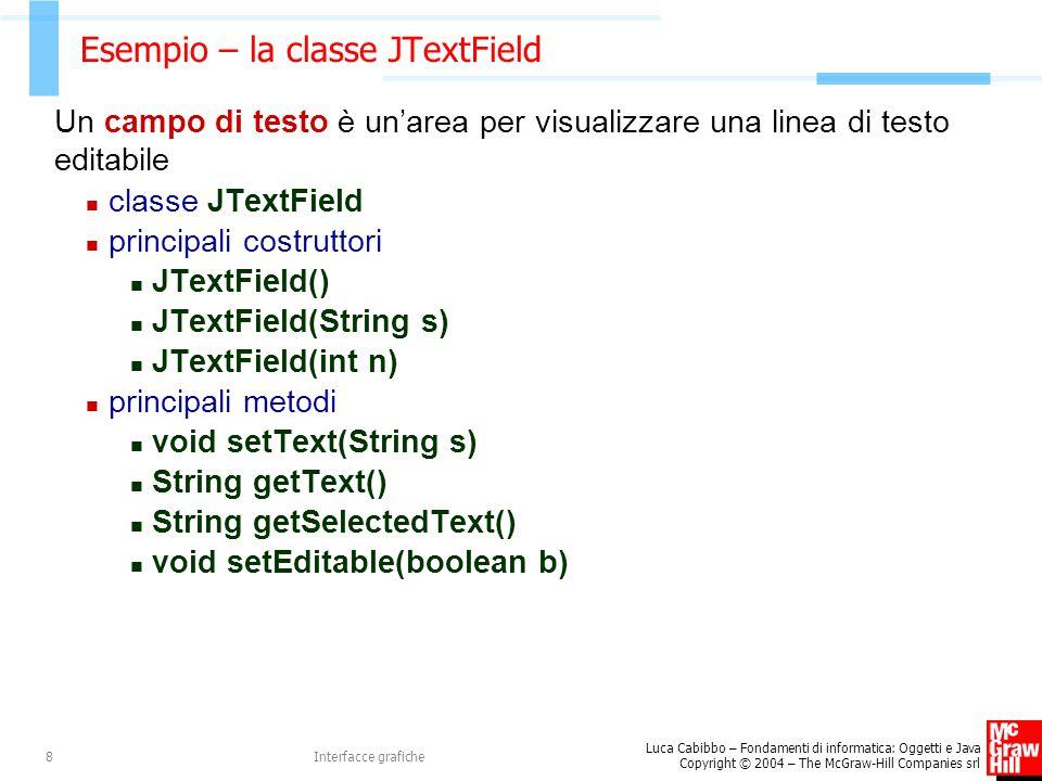 Esempio – la classe JTextField