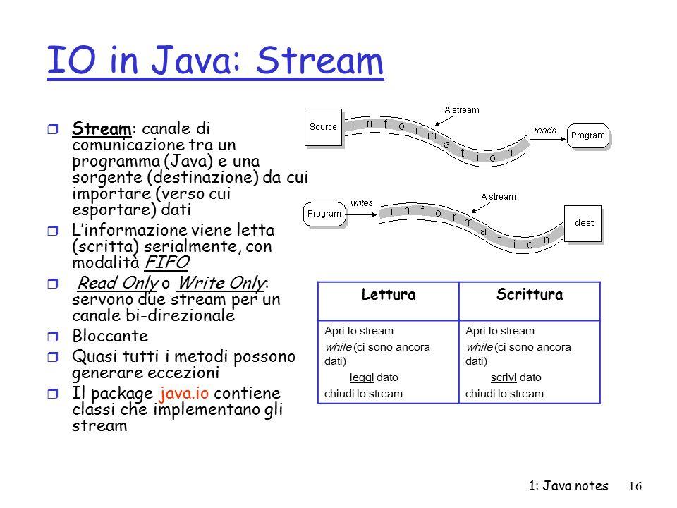 IO in Java: Stream Stream: canale di comunicazione tra un programma (Java) e una sorgente (destinazione) da cui importare (verso cui esportare) dati.