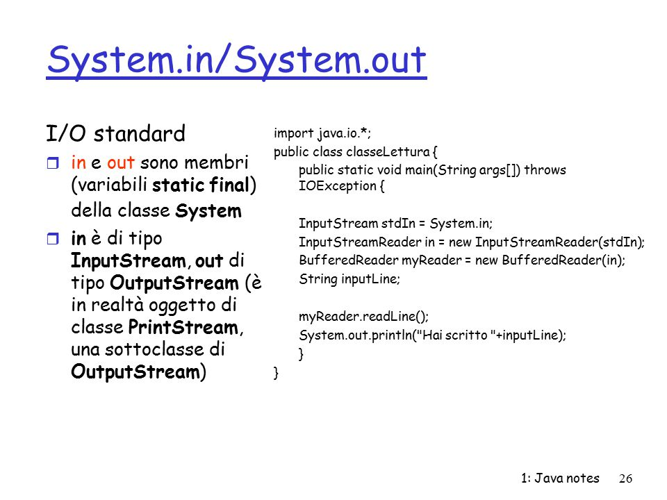 System.in/System.out I/O standard