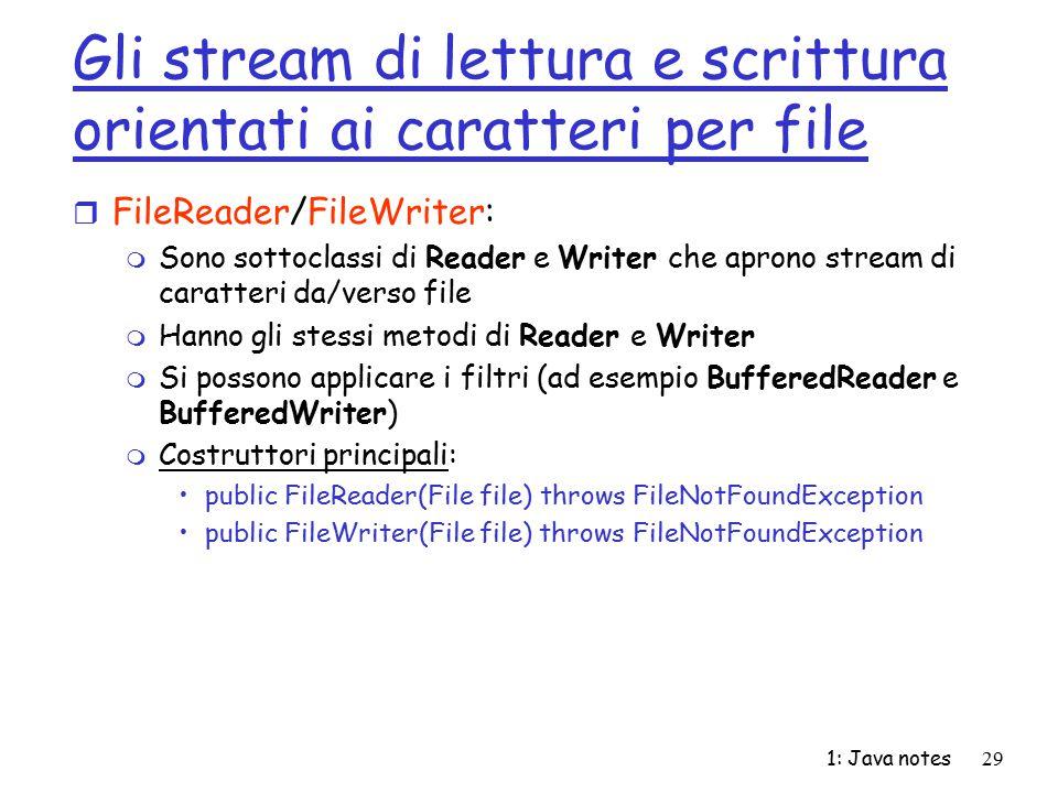 Gli stream di lettura e scrittura orientati ai caratteri per file