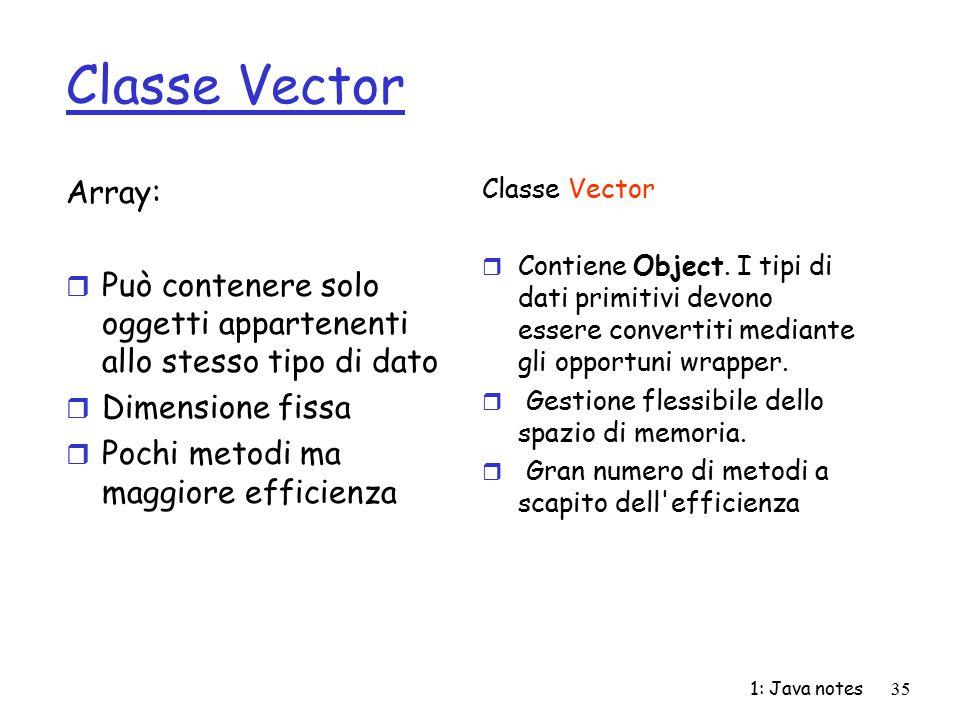 Classe Vector Array: Può contenere solo oggetti appartenenti allo stesso tipo di dato. Dimensione fissa.