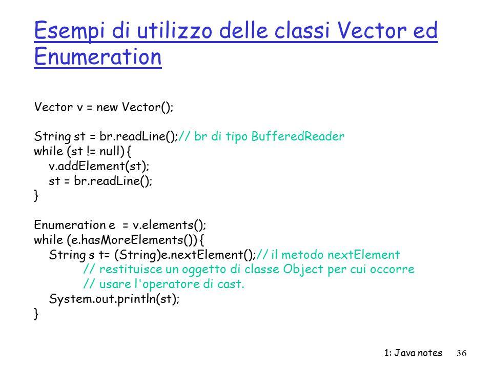 Esempi di utilizzo delle classi Vector ed Enumeration