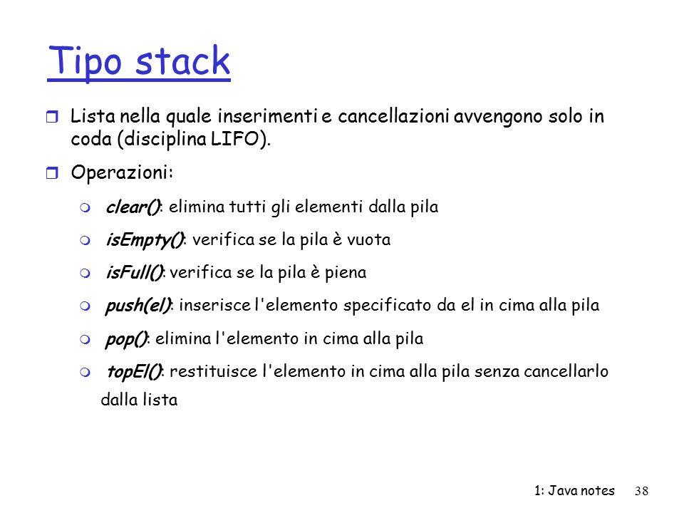 Tipo stack Lista nella quale inserimenti e cancellazioni avvengono solo in coda (disciplina LIFO). Operazioni: