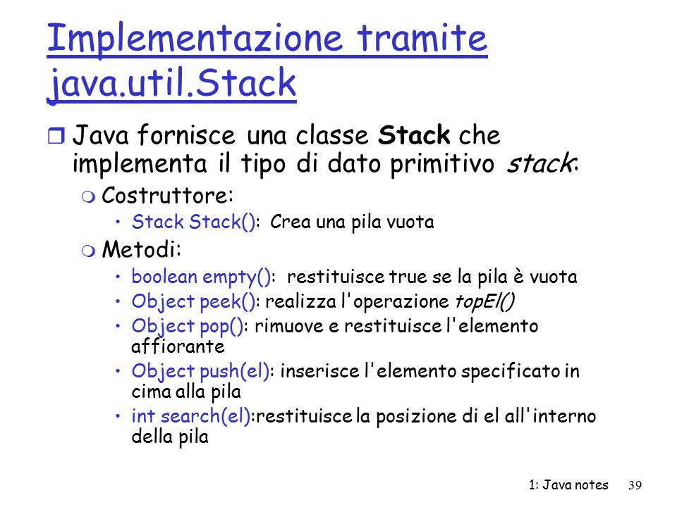 Implementazione tramite java.util.Stack