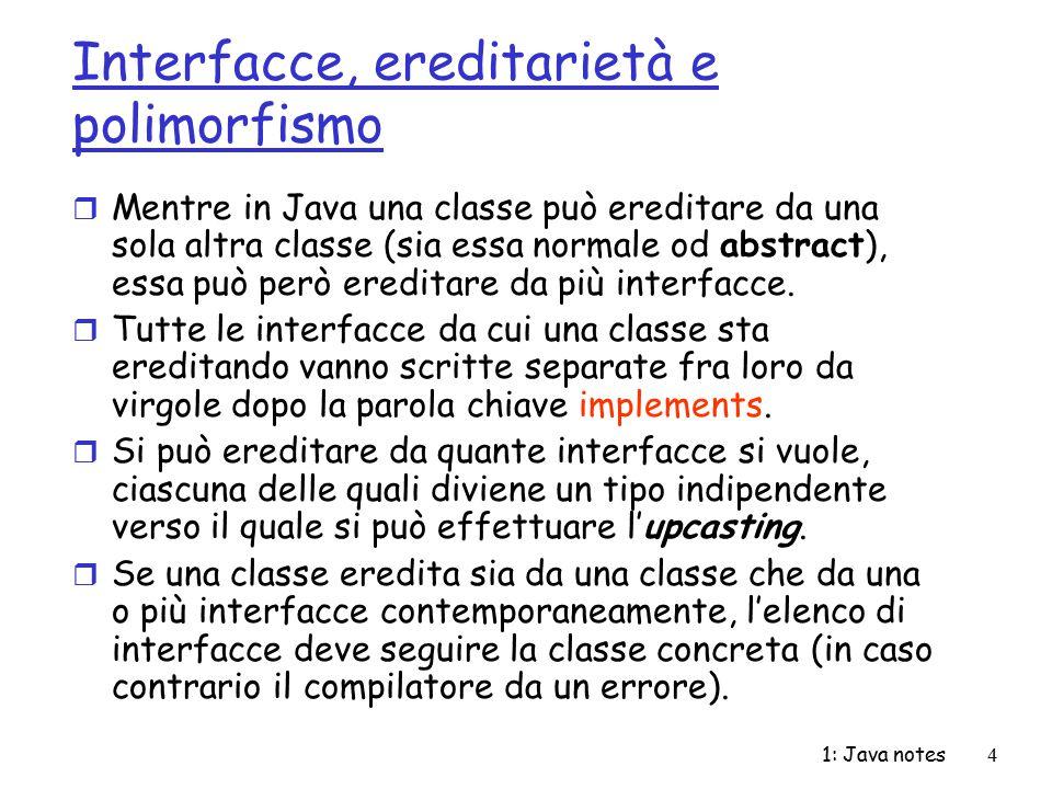 Interfacce, ereditarietà e polimorfismo