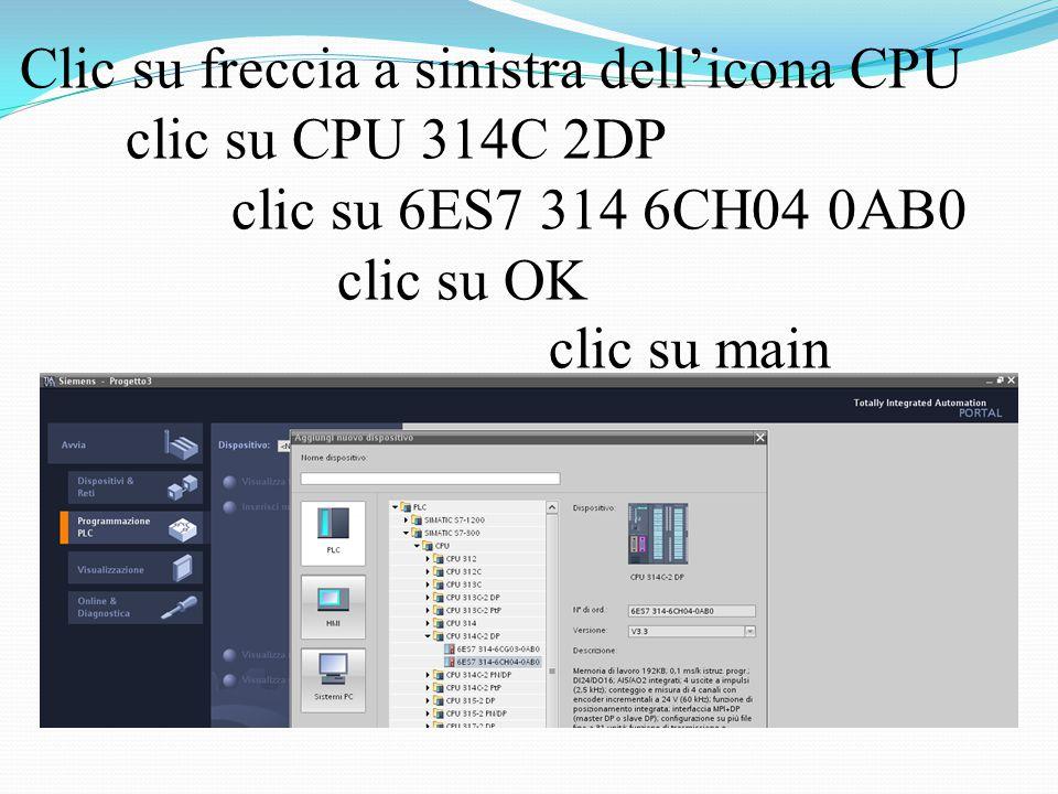 Clic su freccia a sinistra dell'icona CPU