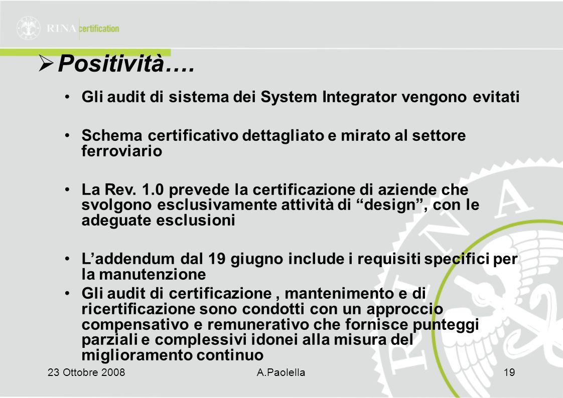 Positività…. Gli audit di sistema dei System Integrator vengono evitati. Schema certificativo dettagliato e mirato al settore ferroviario.