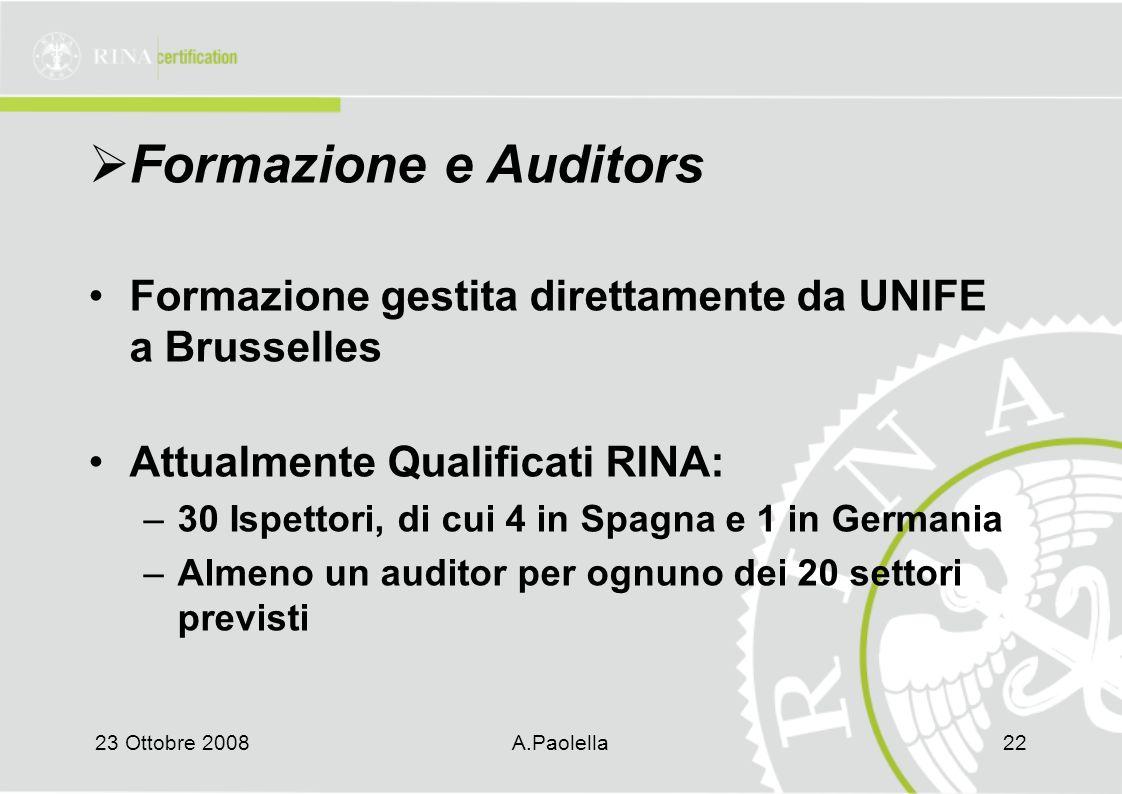 Formazione e Auditors Formazione gestita direttamente da UNIFE a Brusselles. Attualmente Qualificati RINA: