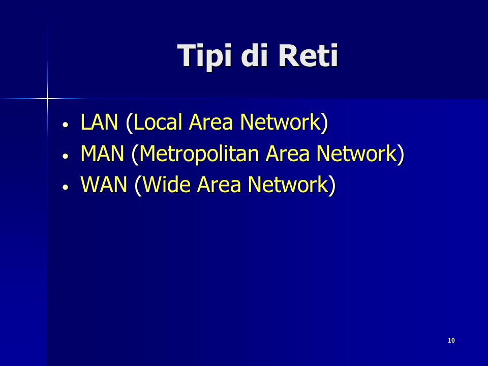 Tipi di Reti LAN (Local Area Network) MAN (Metropolitan Area Network)