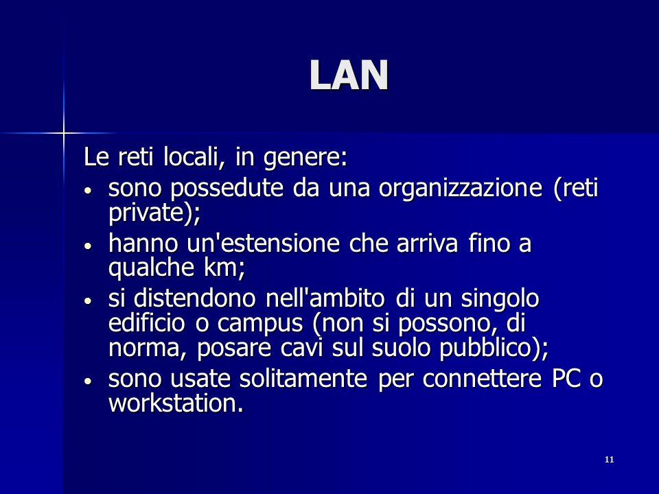 LAN Le reti locali, in genere: