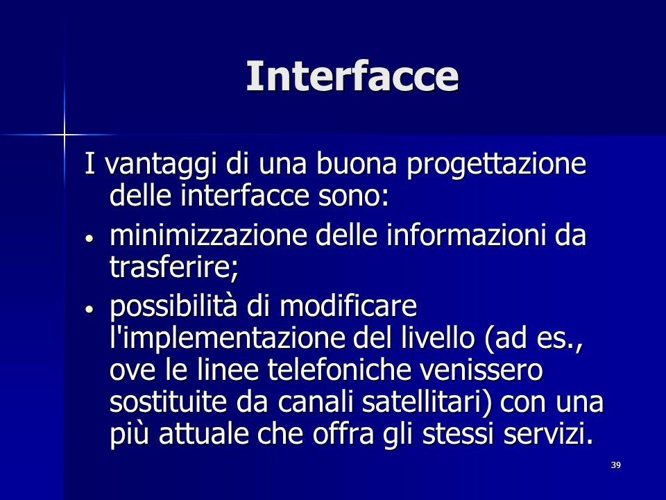 Interfacce I vantaggi di una buona progettazione delle interfacce sono: minimizzazione delle informazioni da trasferire;