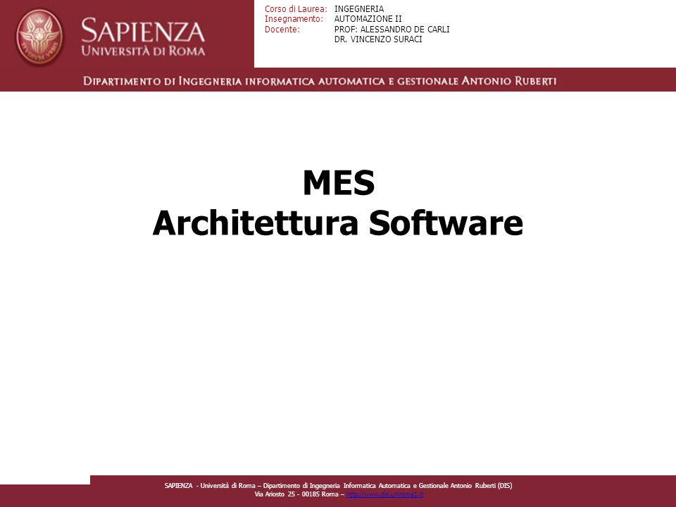 MES Architettura Software