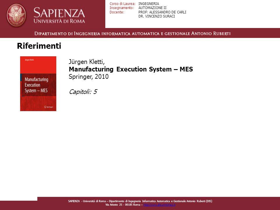 Riferimenti Jürgen Kletti, Manufacturing Execution System – MES