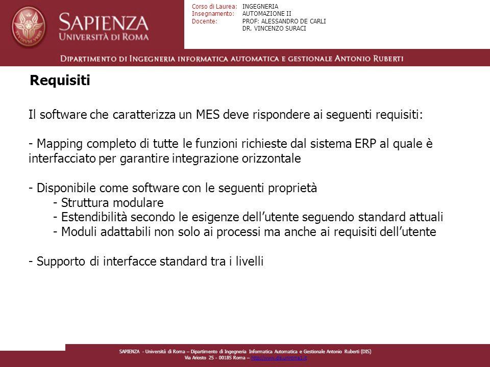 Requisiti Il software che caratterizza un MES deve rispondere ai seguenti requisiti: