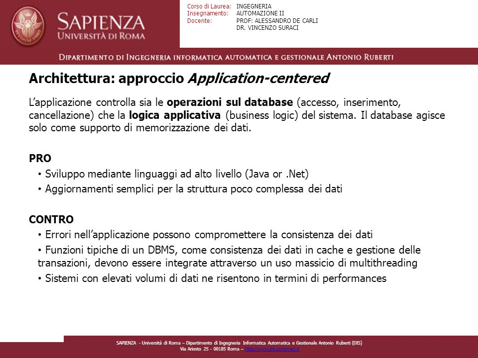 Architettura: approccio Application-centered