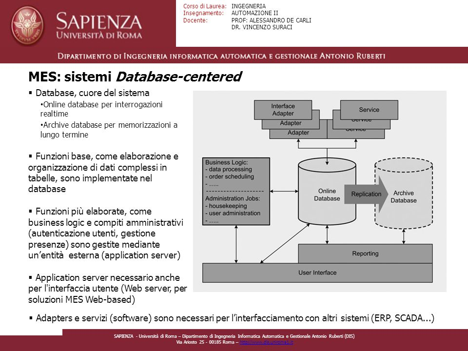 MES: sistemi Database-centered