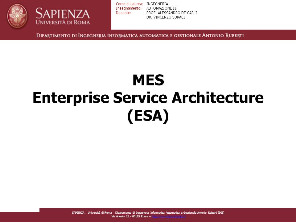MES Enterprise Service Architecture (ESA)
