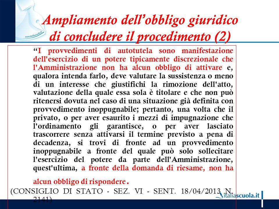 Ampliamento dell'obbligo giuridico di concludere il procedimento (2)