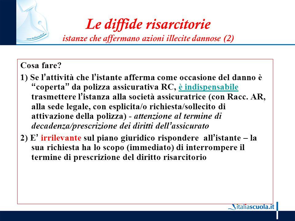 Le diffide risarcitorie istanze che affermano azioni illecite dannose (2)