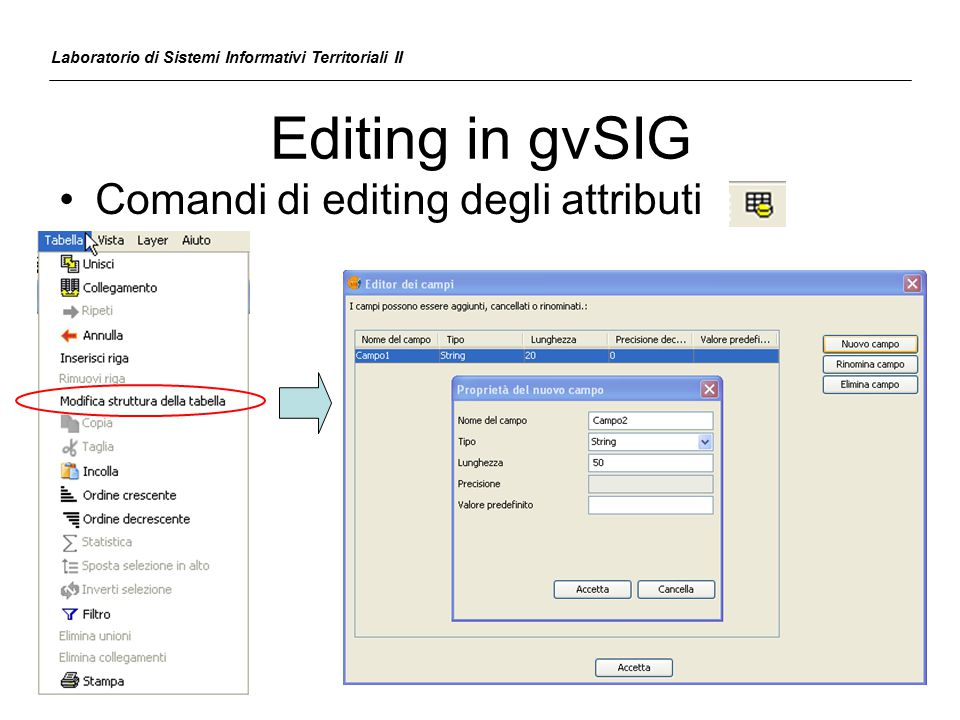 Editing in gvSIG Comandi di editing degli attributi