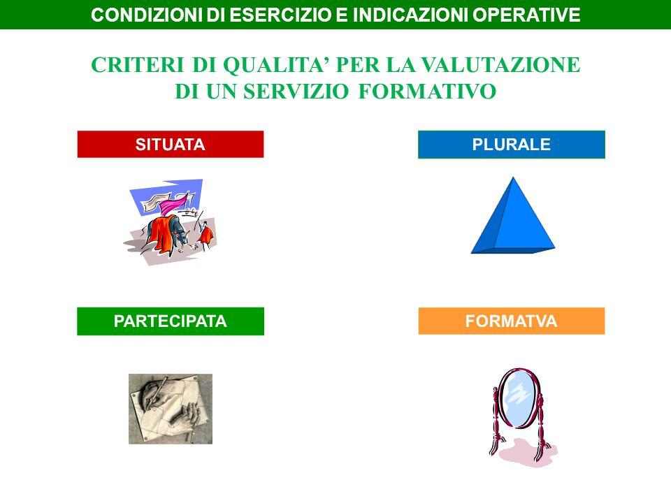 CRITERI DI QUALITA' PER LA VALUTAZIONE DI UN SERVIZIO FORMATIVO
