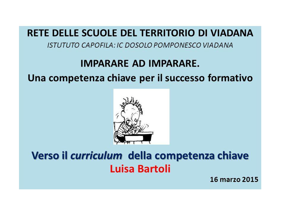 Verso il curriculum della competenza chiave Luisa Bartoli