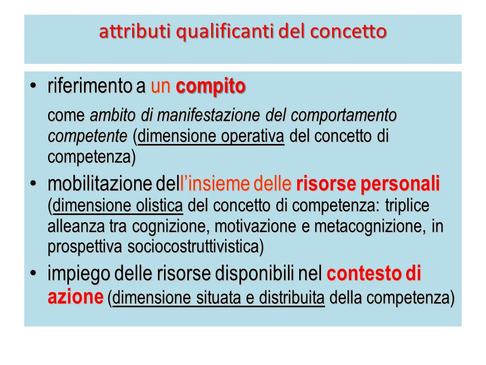 attributi qualificanti del concetto