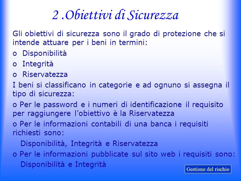2 .Obiettivi di Sicurezza
